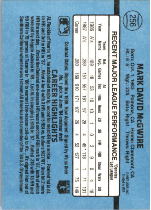 1988 Donruss #256 Mark McGwire back image