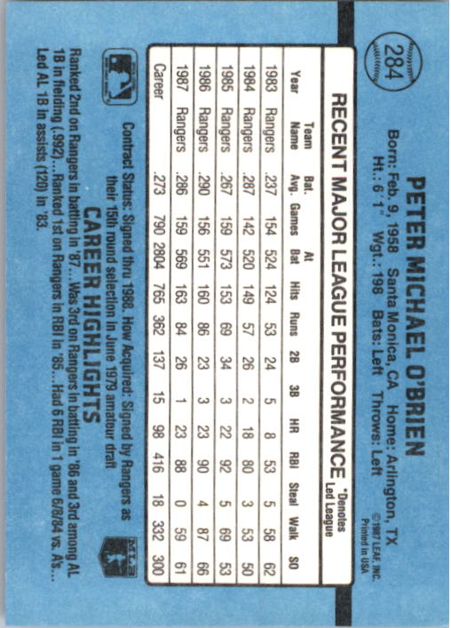 1988 Donruss #284 Pete O'Brien back image