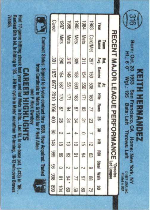 1988 Donruss #316 Keith Hernandez back image