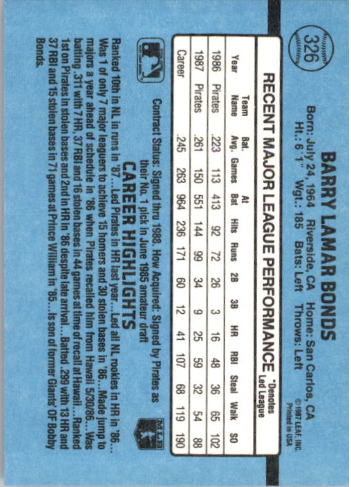 1988 Donruss #326 Barry Bonds back image