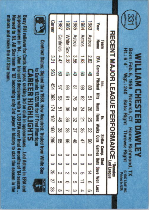 1988 Donruss #331 Bill Dawley