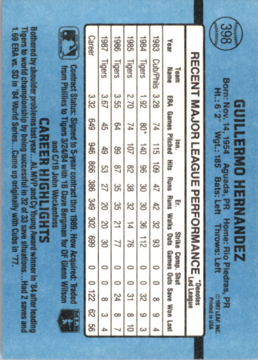 1988 Donruss #398 Willie Hernandez back image
