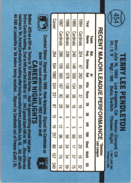 1988 Donruss #454 Terry Pendleton back image