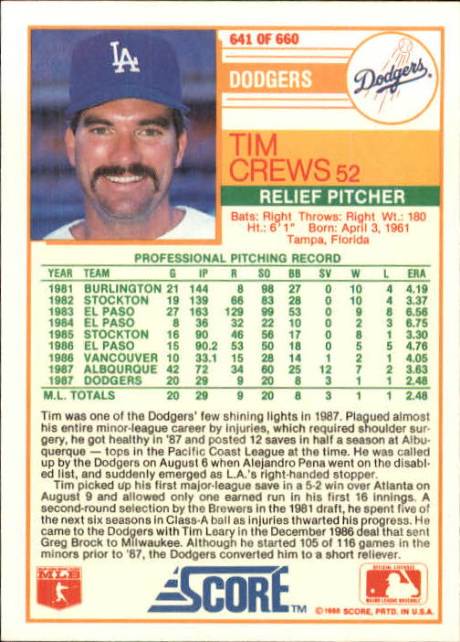 1988 Score #641 Tim Crews RC
