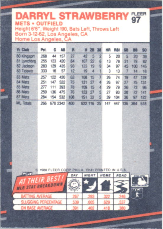 1988 Fleer Mini #97 Darryl Strawberry back image