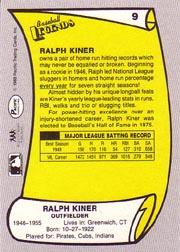 1988 Pacific Legends I #9 Ralph Kiner back image