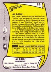 1988 Pacific Legends I #28 Al Dark back image
