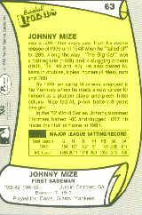 1988 Pacific Legends I #63 Johnny Mize back image