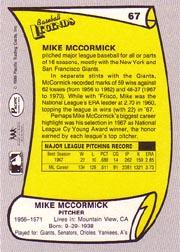 1988 Pacific Legends I #67 Mike McCormick back image