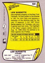 1988 Pacific Legends I #68 Lou Burdette back image