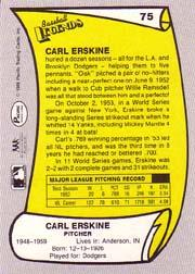 1988 Pacific Legends I #75 Carl Erskine back image