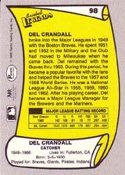 1988 Pacific Legends I #98 Del Crandall back image
