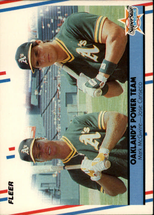 1988 Fleer #624 Mark McGwire/Jose Canseco