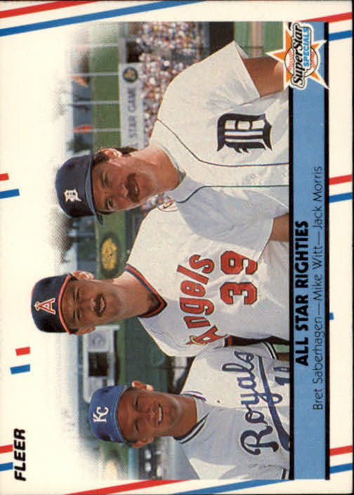 1988 Fleer #626 All Star Righties/Bret Saberhagen/Mike Witt/Jac