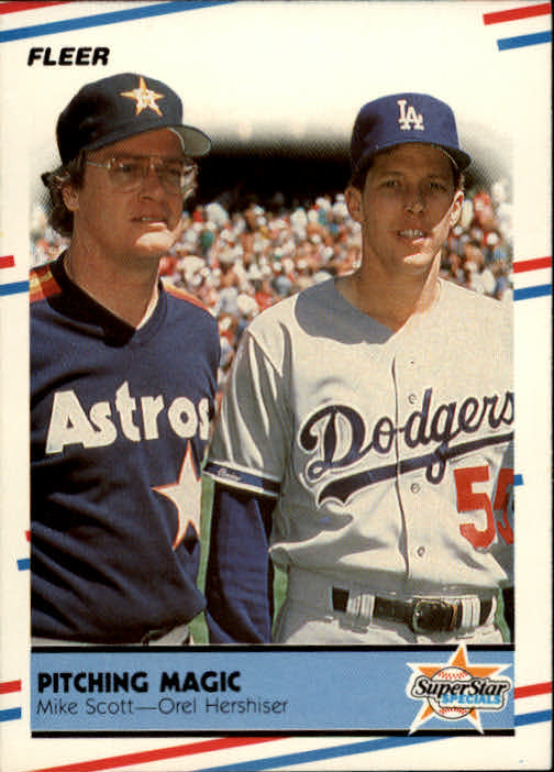 1988 Fleer #632 Pitching Magic/Mike Scott/Orel Hershiser