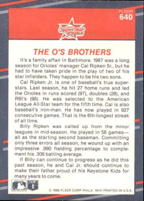 1988 Fleer #640 Ripken Brothers back image