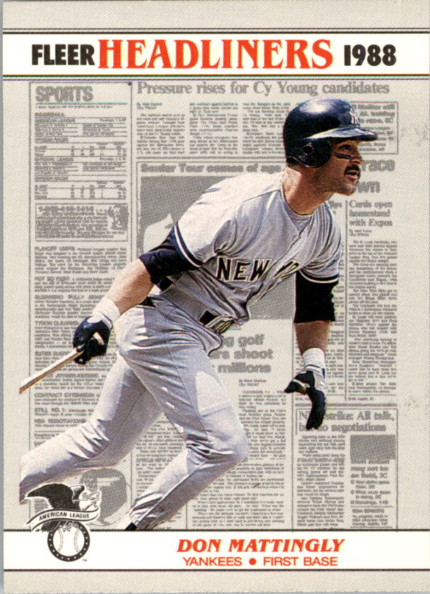1988 Fleer Headliners #1 Don Mattingly