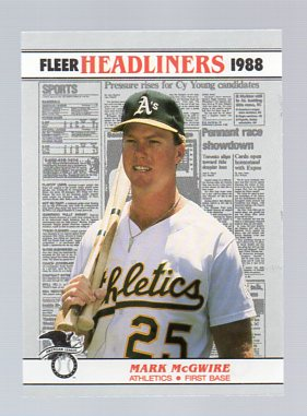 1988 Fleer Headliners #2 Mark McGwire