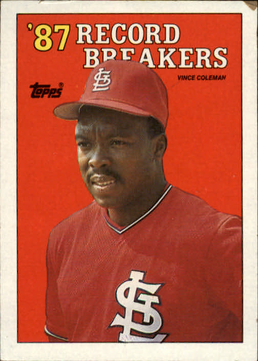 1988 Topps #1 Vince Coleman RB/100 Steals for/Third Cons. Seas