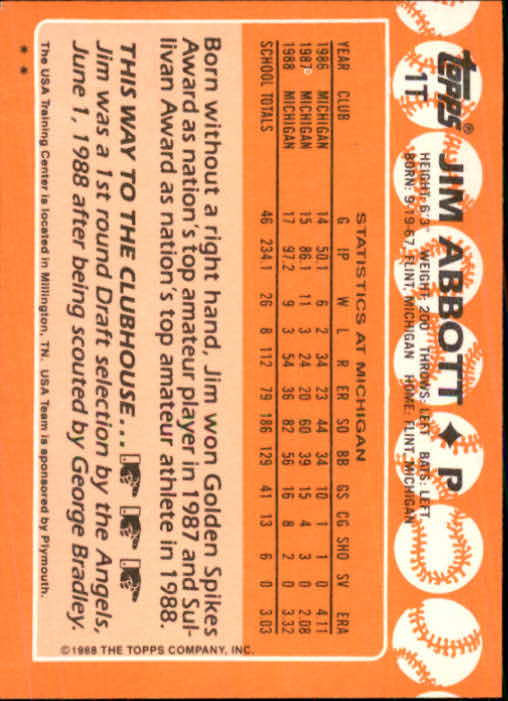 1988 Topps Traded #1T Jim Abbott OLY XRC back image