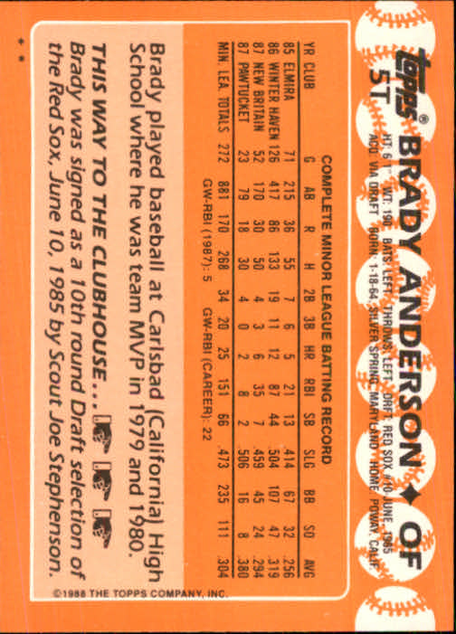 1988 Topps Traded #5T Brady Anderson XRC back image