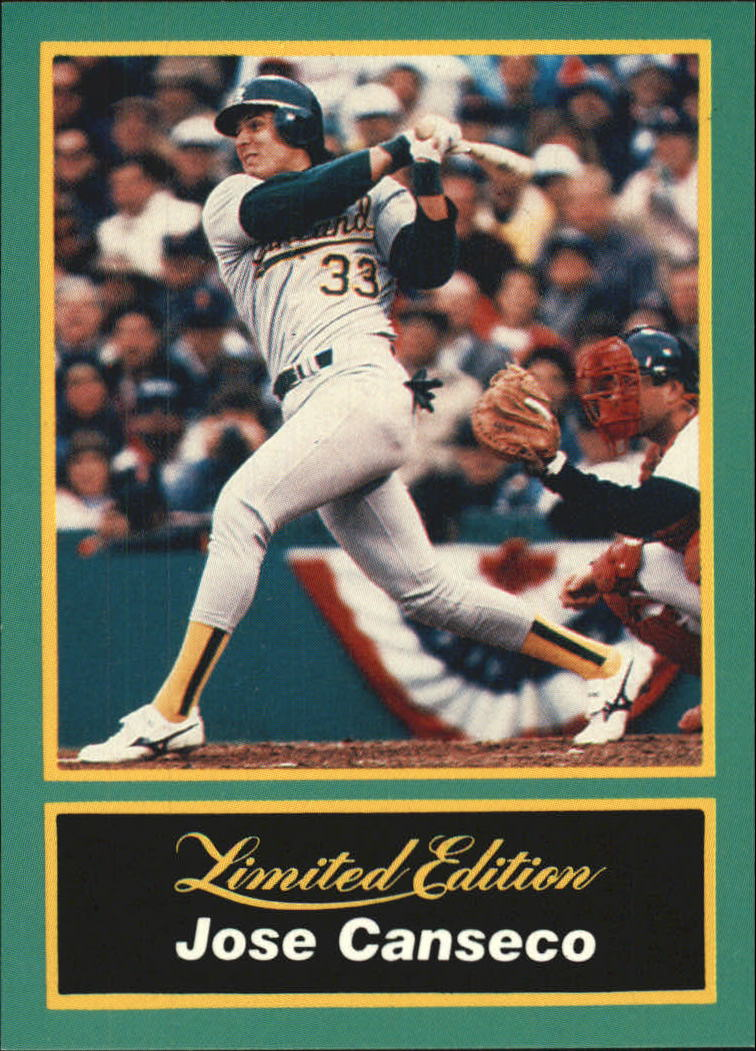 1989 CMC Canseco #4 Jose Canseco/Follow-through on swing/catcher vis
