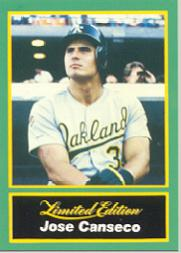 1989 CMC Canseco #13 Looking up witrh green/batting glove in/foregrou