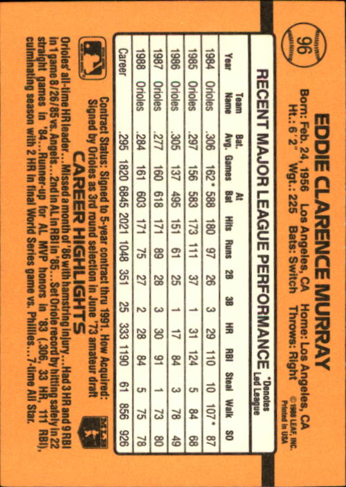 1989 Donruss #96 Eddie Murray back image