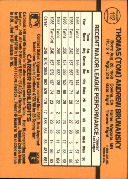 1989 Donruss #112 Tom Brunansky back image