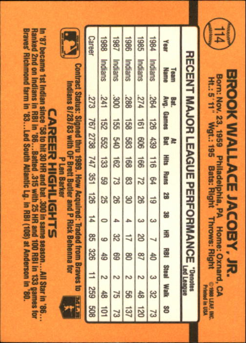 1989 Donruss #114 Brook Jacoby back image