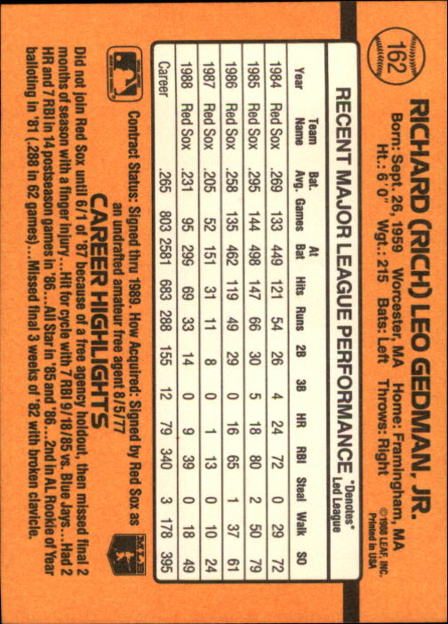 1989 Donruss #162 Rich Gedman back image