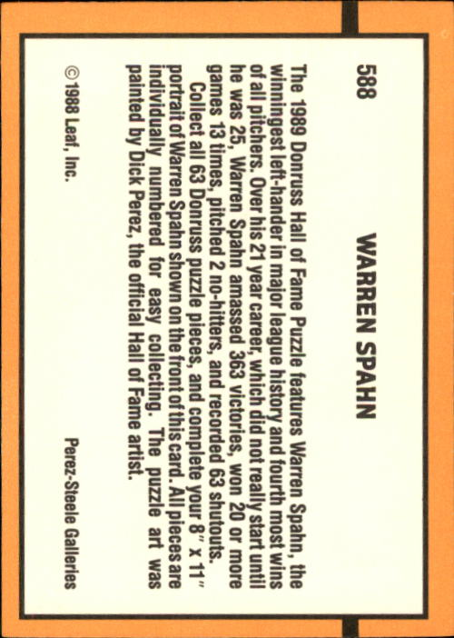 1989 Donruss #588 Warren Spahn Puzzle DP back image