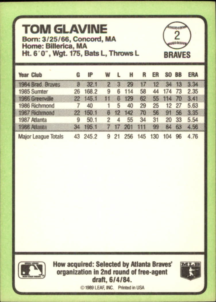1989 Donruss Baseball's Best #2 Tom Glavine back image