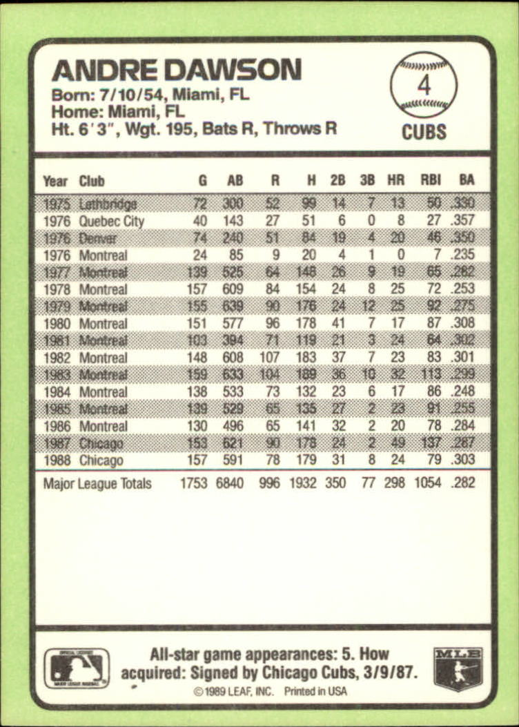 1989 Donruss Baseball's Best #4 Andre Dawson back image