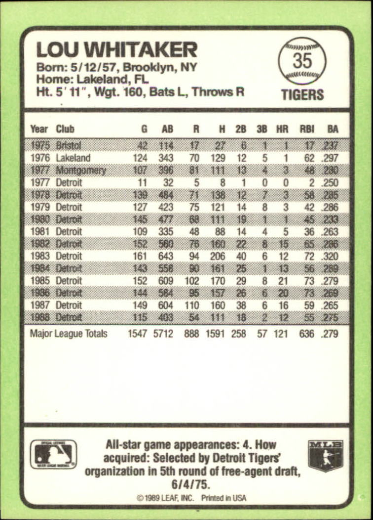 1989 Donruss Baseball's Best #35 Lou Whitaker back image