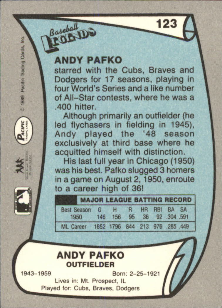 1989 Pacific Legends II #123 Andy Pafko back image