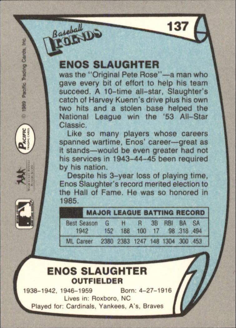 1989 Pacific Legends II #137 Enos Slaughter back image