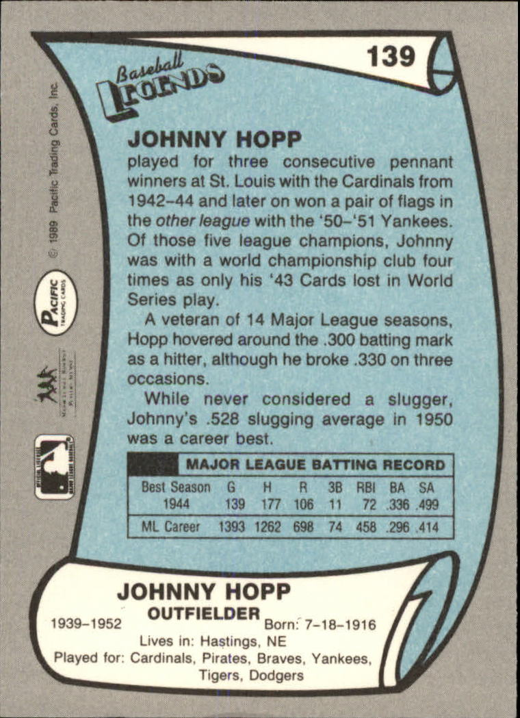 1989 Pacific Legends II #139 John Hopp back image
