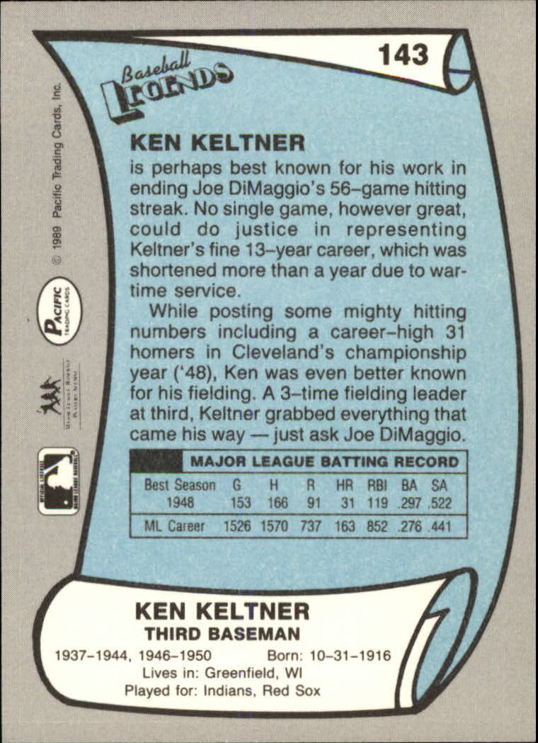 1989 Pacific Legends II #143 Ken Keltner back image