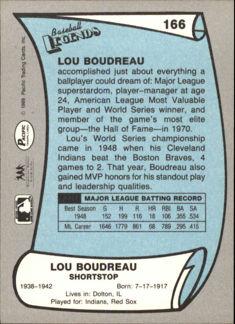 1989 Pacific Legends II #166 Lou Boudreau back image