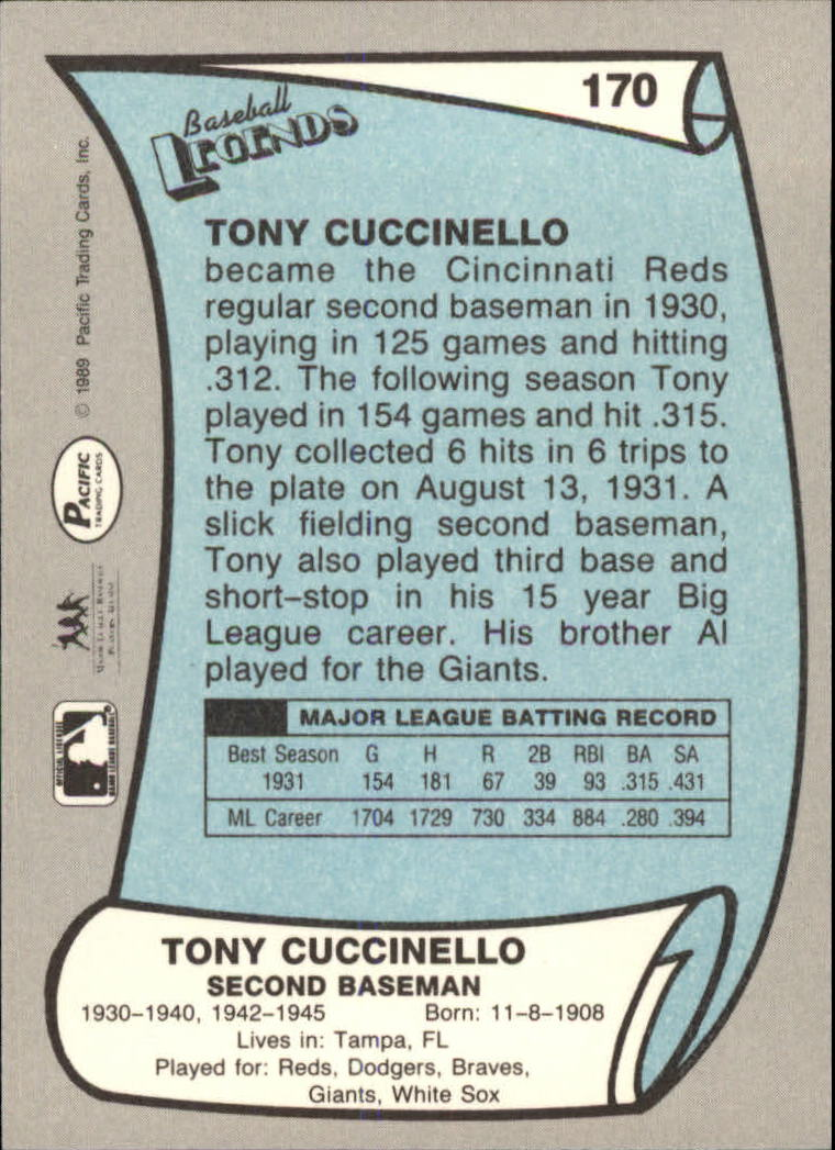 1989 Pacific Legends II #170 Tony Cuccinello back image