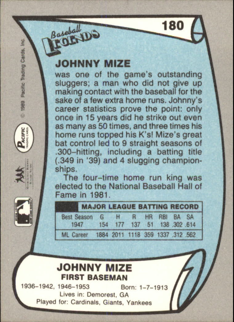 1989 Pacific Legends II #180 Johnny Mize back image