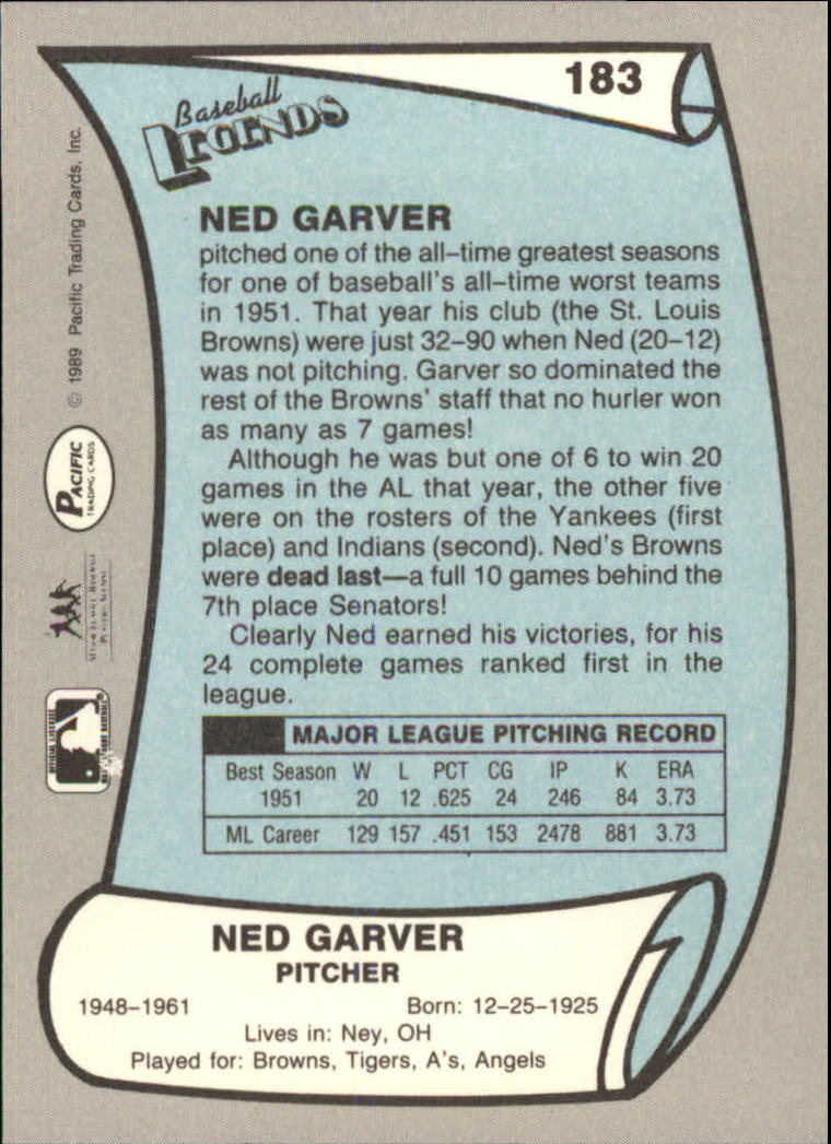 1989 Pacific Legends II #183 Ned Garver back image