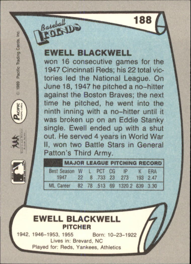 1989 Pacific Legends II #188 Ewell Blackwell back image