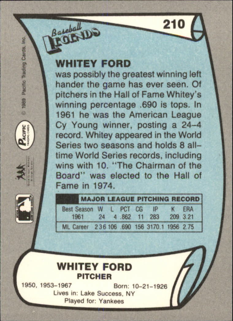 1989 Pacific Legends II #210 Whitey Ford back image