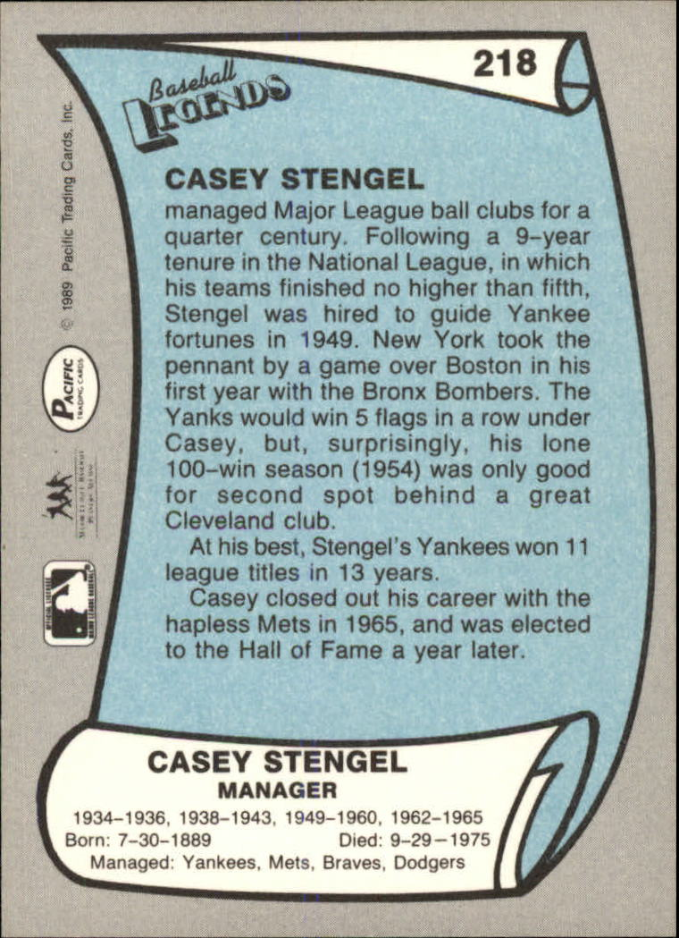 1989 Pacific Legends II #218 Casey Stengel back image