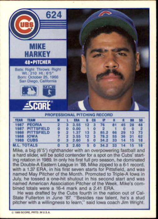 1989 Score #624 Mike Harkey RC UER/13 and 31 walks in '88,/should be 35 and 33 back image