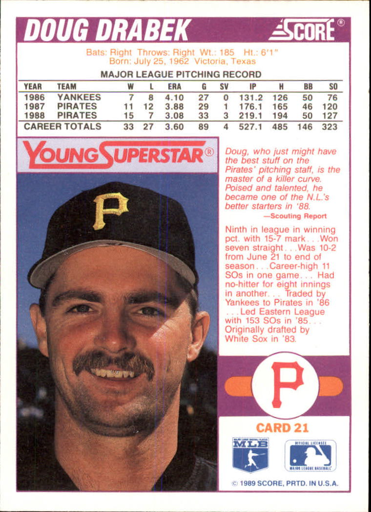 2011nm:`eK�^�;�b���少_1989 score young superstars i #21 doug drabek - nm-mt