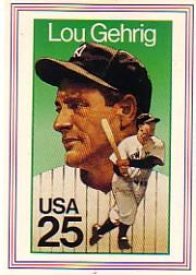 1989 USPS Legends Stamp Cards #2 Lou Gehrig/Issued June 10, 1989