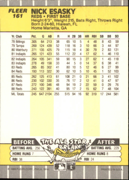 1989 Fleer #161 Nick Esasky back image